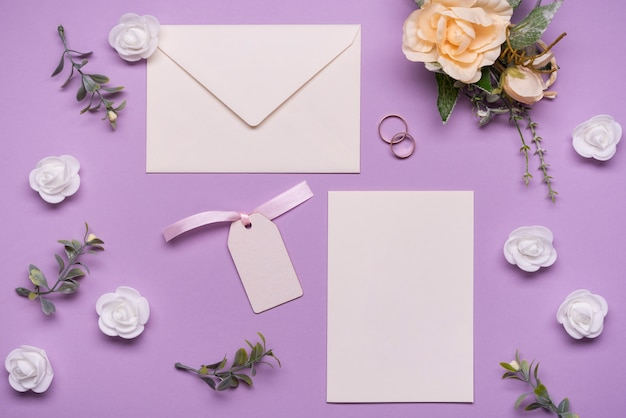 Stationery wedding invitation with flowers