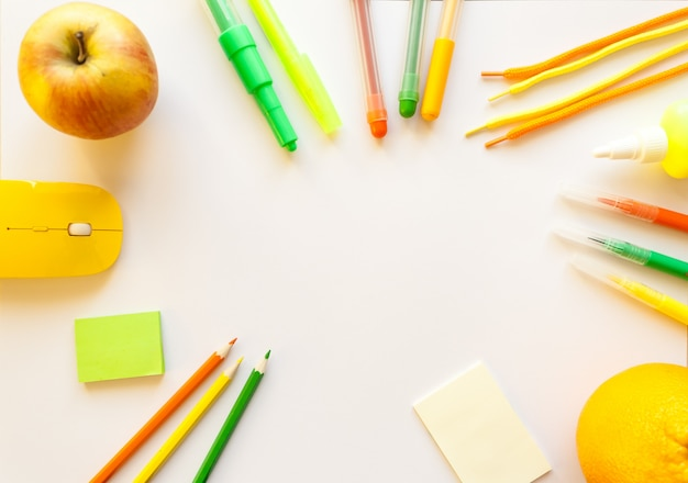 Stationery on the white background.