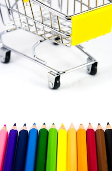 Stationery with shopping cart.colors pencil set