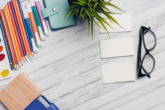 Stationery, wooden desk, school and office items