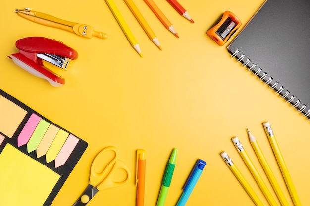 Stationery on a yellow background.