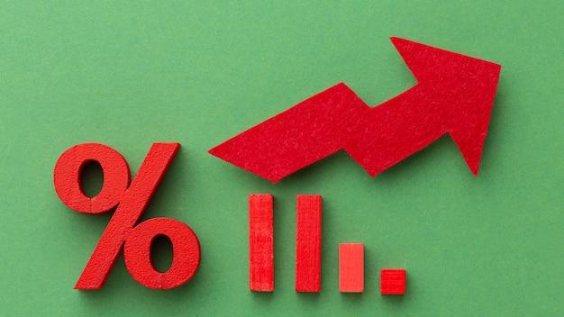 Concetto di statistiche con freccia e percentuale