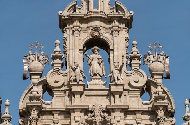 Statue of the apostle santiago on facade of santiago de compostela cathedral