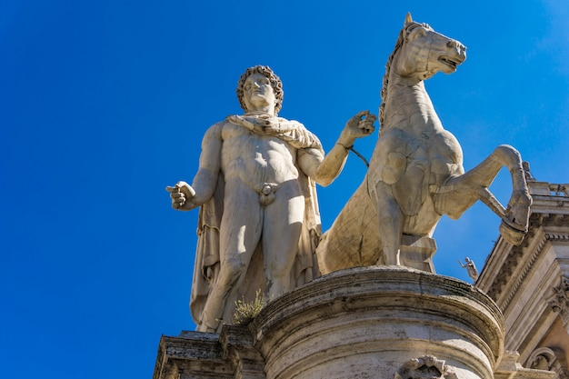 Statue of castor with a horse at capitoline hill in rome, italy