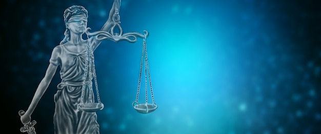 Statue of justice on a blue background