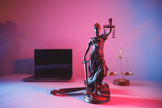 The statue of justice in notary office. legal law concept.