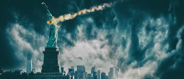 Statue of liberty destroyed by a meteor  new york city apocalypse