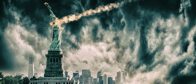 Statue of liberty destroyed by a meteor