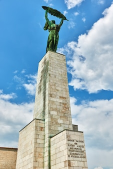 Statue of liberty on gellert hill in budapest at summer day. hungury.