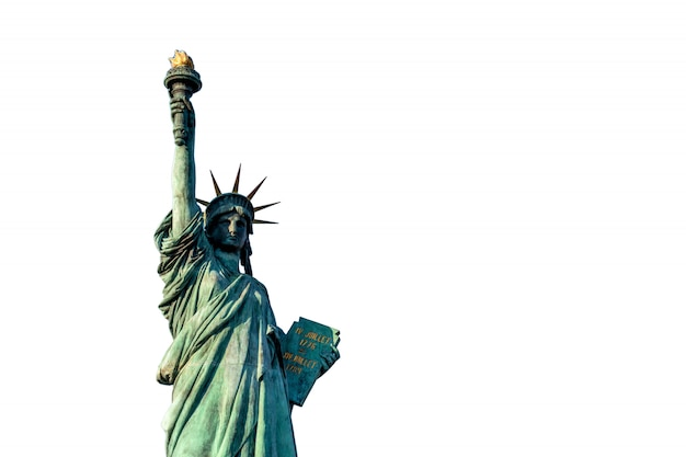Statue of liberty on white background, isolate include clipping path, located at odaiba tokyo, japan