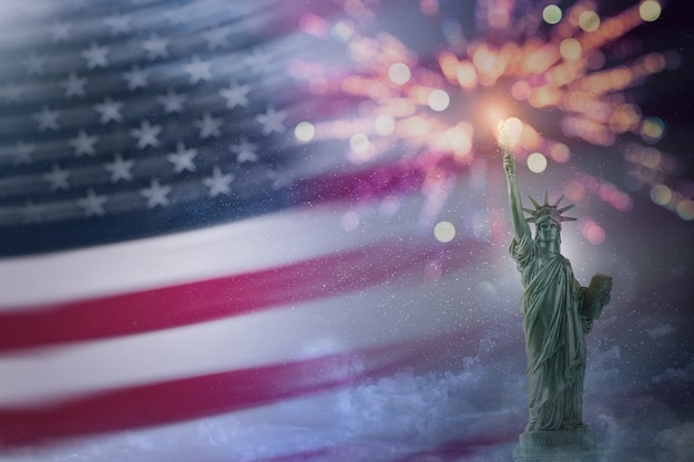 Statue of liberty with usa flag and firework. copy-space for use. 4th of july of independence day. labor day