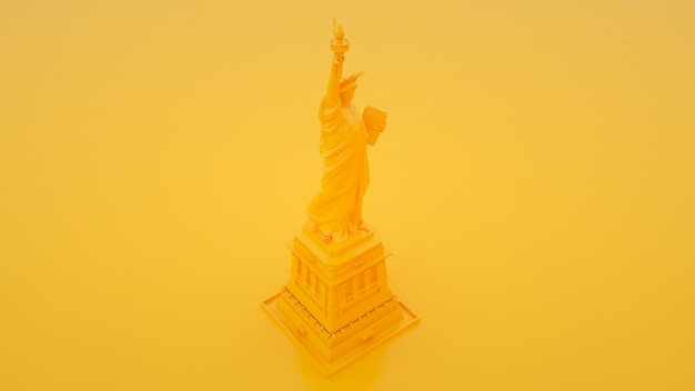 Statue of liberty on yellow background