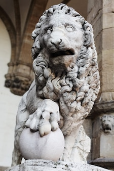 Statue of lion at piazza della signoria in the historical center of florence