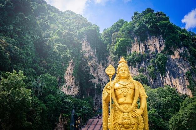Statue of lord muragan and entrance at batu caves