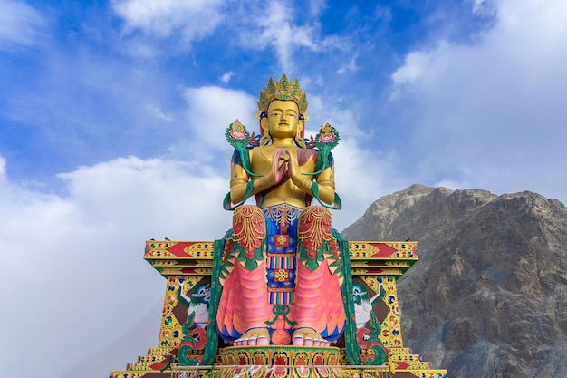 A statue of maitreya buddha at diskit monastery, nubra valley, ladakh, india.
