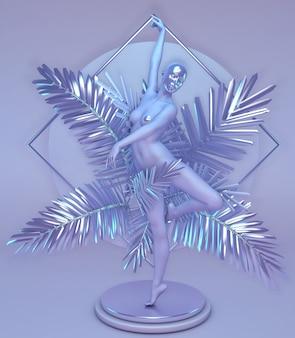 台座の上で紫色に輝く手のひらで踊る彼女の顔にマスクを持つ女性の像幾何学的な垂直構成デジタル抽象芸術