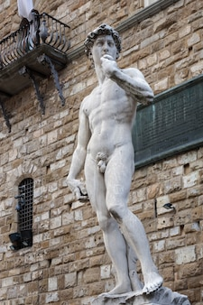 Статуя давида работы микеланджело на площади синьории во флоренции