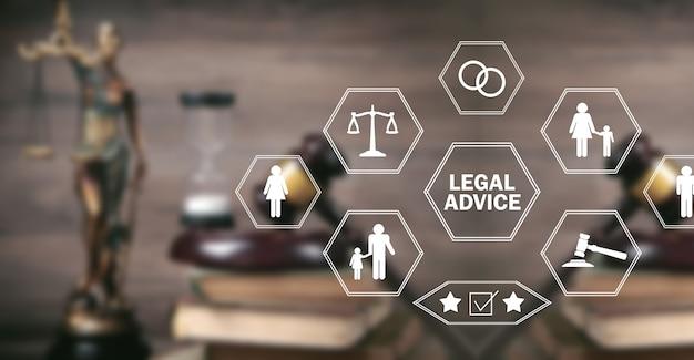 正義の像。法的なアドバイス。法律