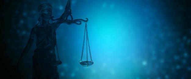 青い背景に正義の像