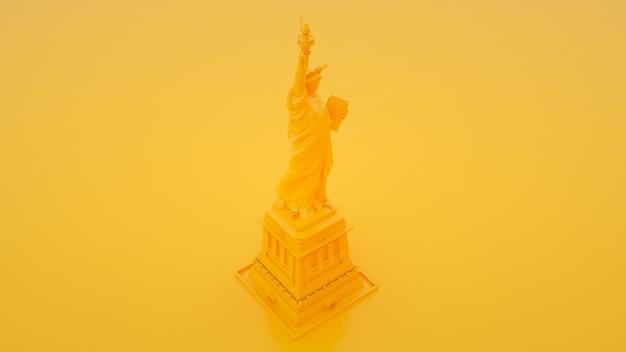 黄色の背景に自由の女神