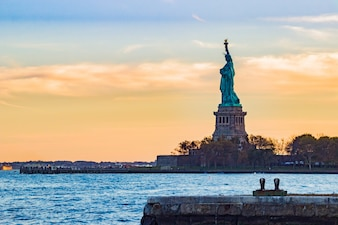 Statue of liberty seen from afar