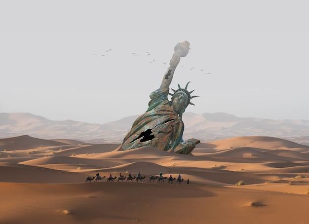 砂漠の砂に沈んだ自由の女神
