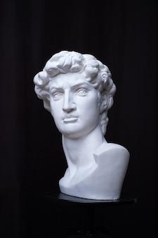 立像。黒の孤立した背景に。ダビデの頭の石膏像。おとこ。
