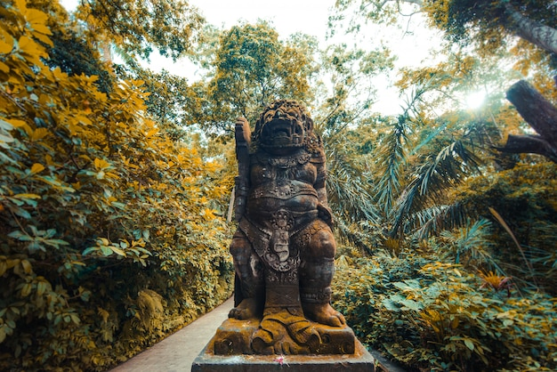 Statue in the sacred monkey forest, ubud, bali