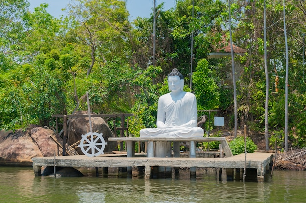 A statue of a seated buddha on a river in sri lanka.