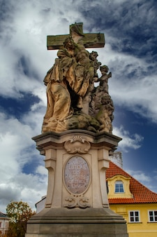 Statue of st. luthgard from 1710 in prague, czech republic