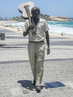 Statue of tom jobim in ipanema in rio de janeiro brazil