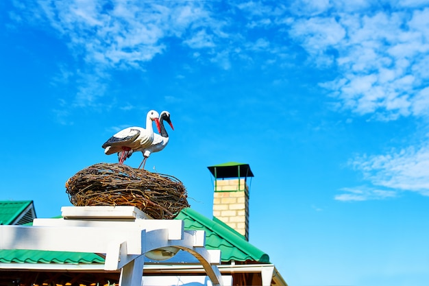 Statues of two storks.