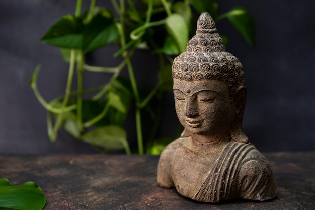 Статуэтка будды на темном фоне