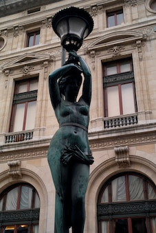 Staute lampposts at the palace garnier in paris france