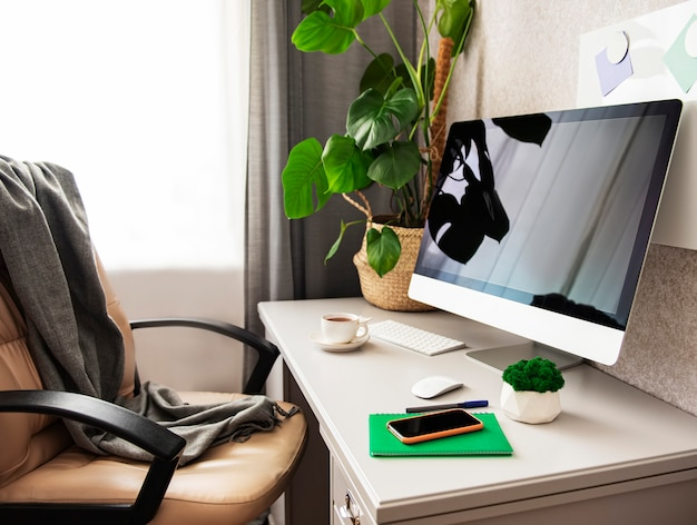 Stay at home. desk office with pc, notebook anf mobile
