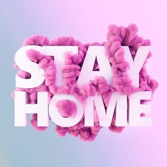 Оставайтесь дома текст с чернилами в воде. творческая минимальная концепция пандемии. коронавирус или covid-19 арт-стена.