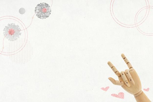 Resta forte sullo sfondo della pandemia di covid-19 con il segno della mano d'amore in legno wooden