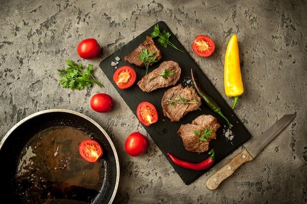 Steak beef on a board