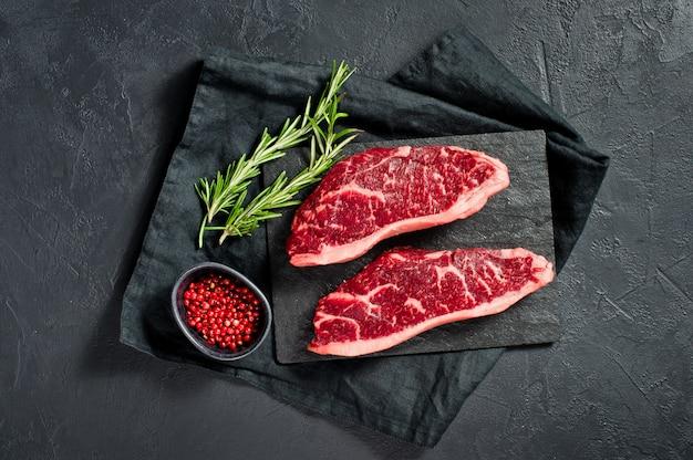 Steak of marbled beef black angus