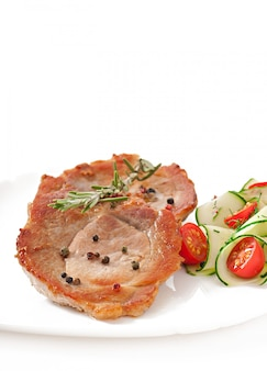 Steak meat with vegetable salad