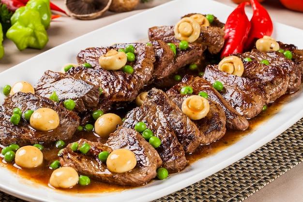 Steak with champignon.