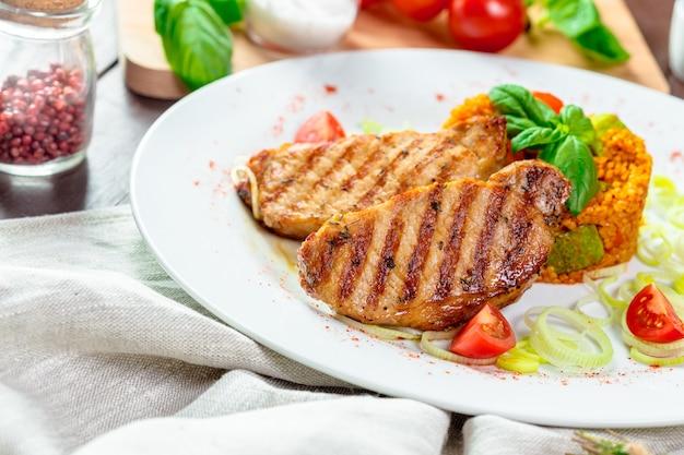 Steaks  with  kuskus groats
