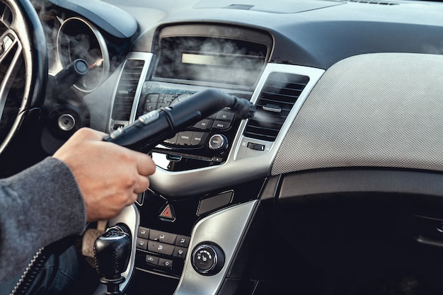 Steam cleaning and disinfection of the car interior and air conditioning