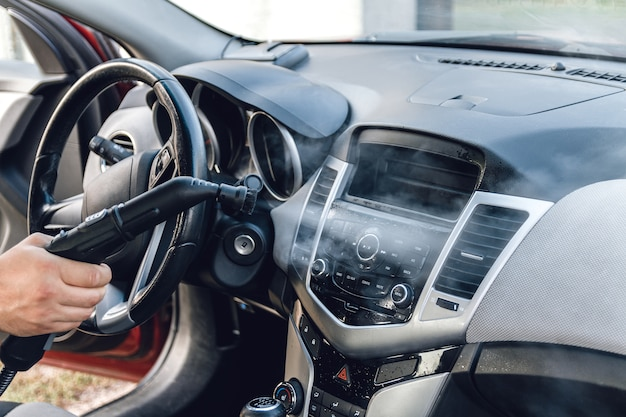 Steam cleaning and disinfection of the car interior