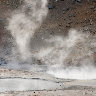 Steam rising from geothermal pools