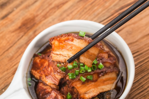 Steamed belly pork with santow mustard cabbage. oriental cuisine, asia recipe,