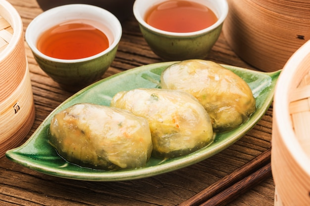 Steamed chinese crystal meat dumplings