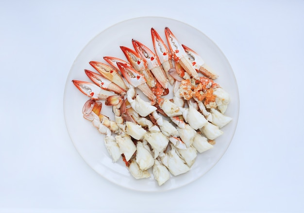 Steamed crab meat in circle plate