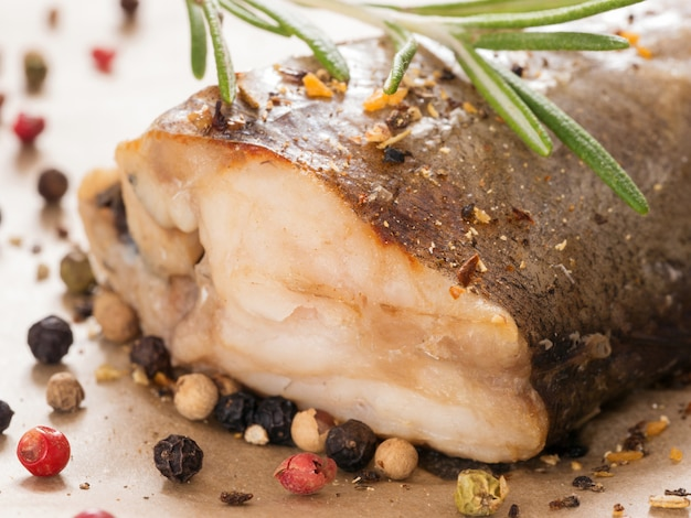 Steamed fish close up