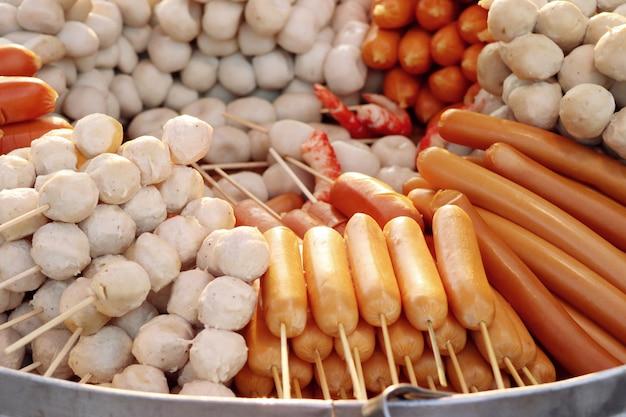 Steamed meatballs at street food